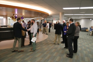 Guests assemble during the dedication to check out the expanded Library.