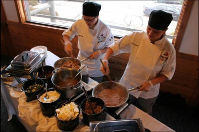 Our Culinary students create a mouth-watering entree at the event.