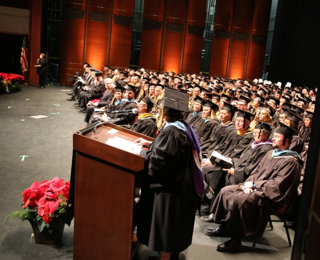 Dr. Susan May addresses the audience at the December 2017 commencement ceremony